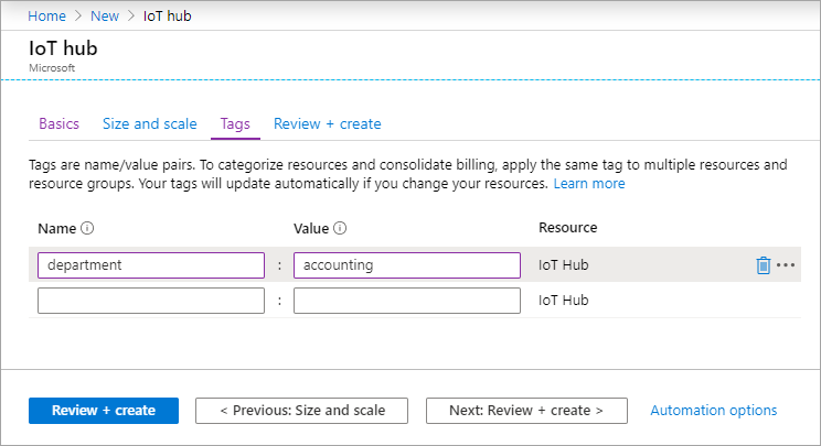 Set the size and scale for a new hub using the Azure portal