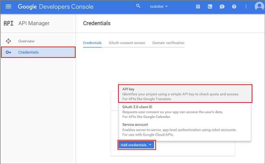 Sending push notifications to android with azure notification hubs in the project dashboard click credentials create credential api key ccuart Choice Image