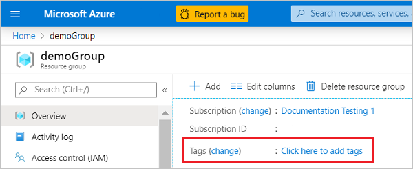 tag azure resources for logical organization microsoft docs
