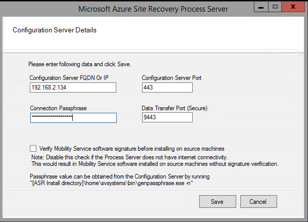 Manage a process server used for disaster recovery of VMware VMs and