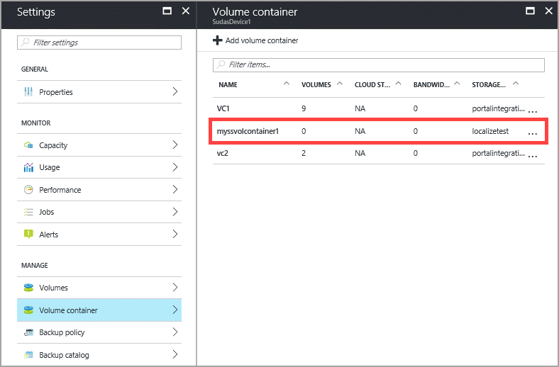 Container Volume Control : Deploy your storsimple series device in azure portal