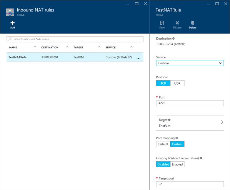 Load balancer NAT rules for port-forwarding