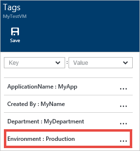 New Tag Saved In Azure Portal