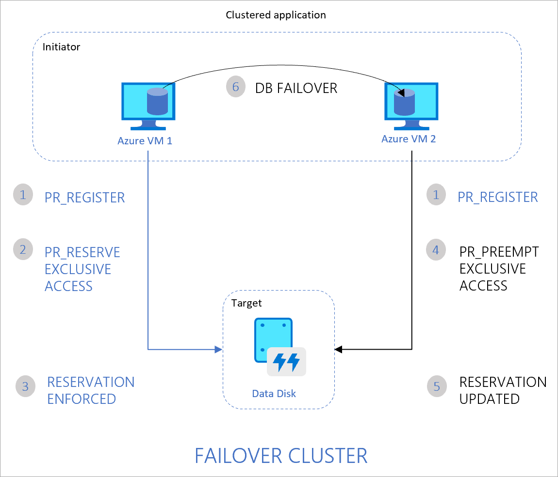 Two node cluster. An application running on the cluster is handling access to the disk