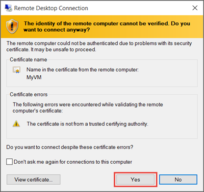 Screenshot showing a message abut verifying the identity of the VM.