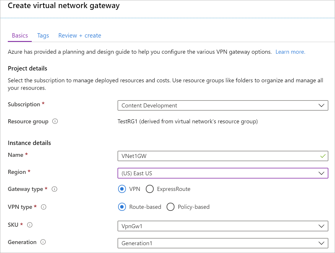 Create virtual network gateway page fields