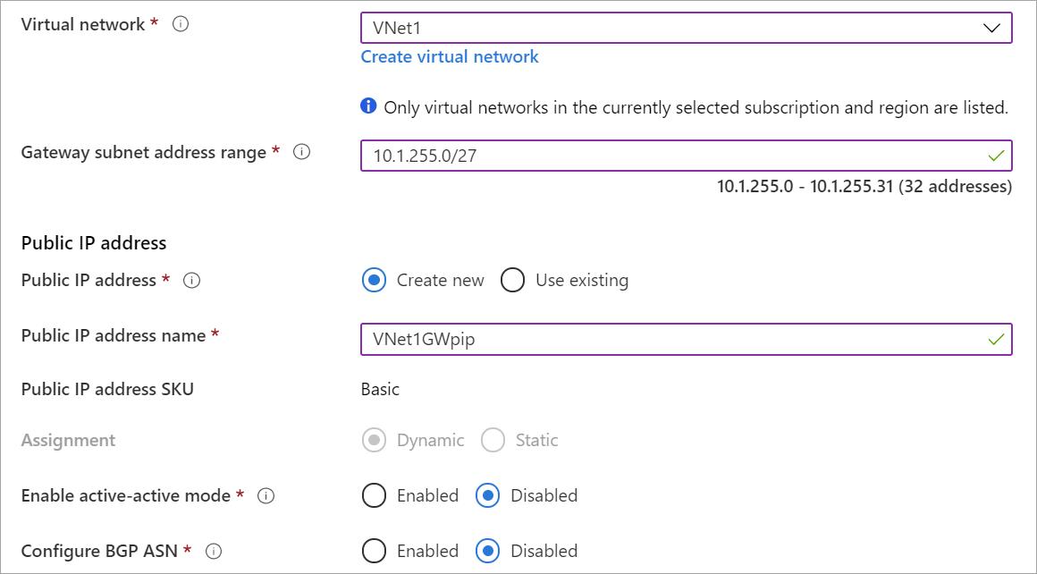 Create virtual network gateway page fields