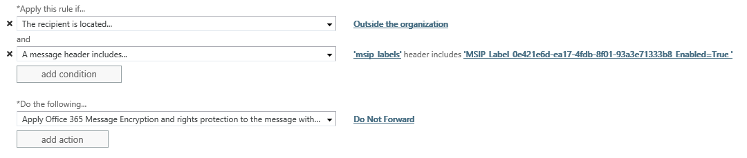 Exchange Online mail flow rules for Azure Information