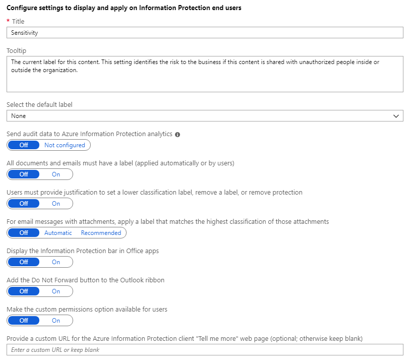 Configure Azure Information Protection policy settings - AIP