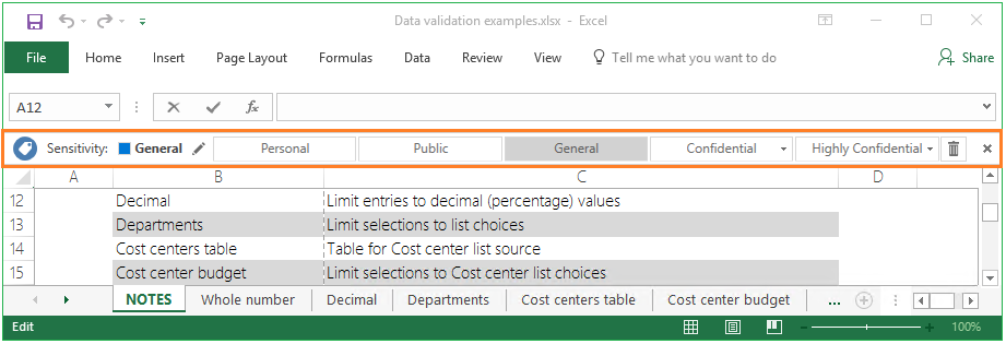 Example of the Azure Information Protection bar in Excel