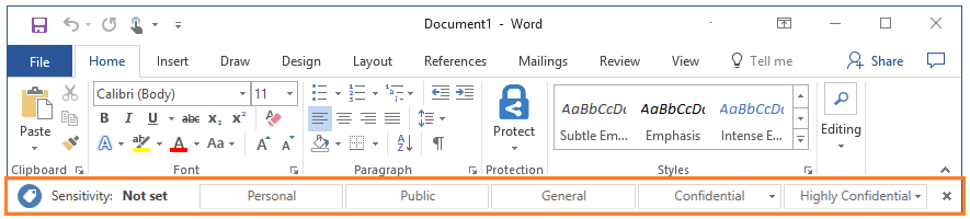 Azure Information Protection bar example