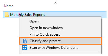 File Explorer right-click Classify and protect using Azure Information Protection