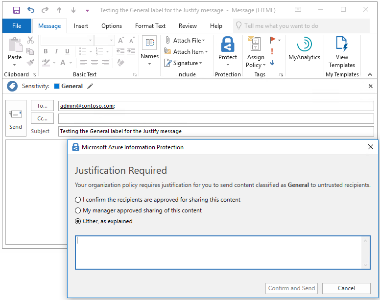 Azure Information Protection Label advanced client setting