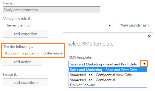Example of selecting templates for Exchange Online
