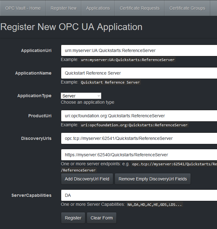 Secure the communication of OPC UA devices with OPC Vault