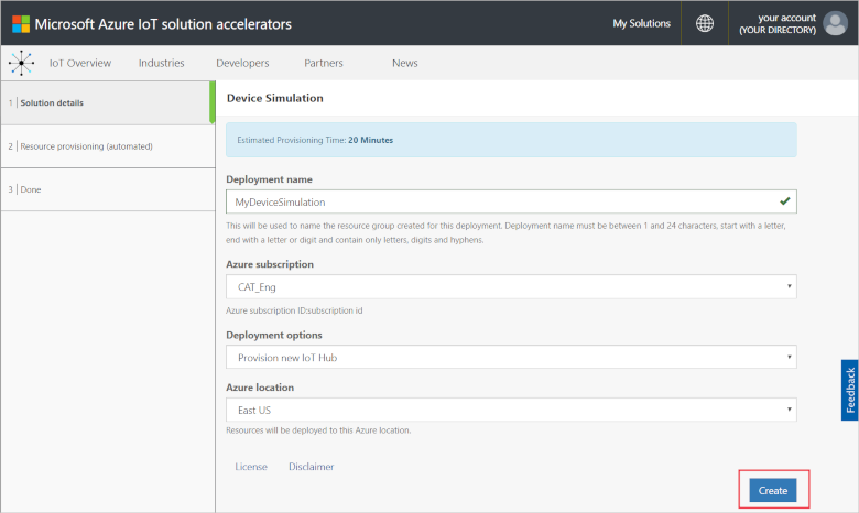 Try and run a device simulation solution - Azure | Microsoft Docs