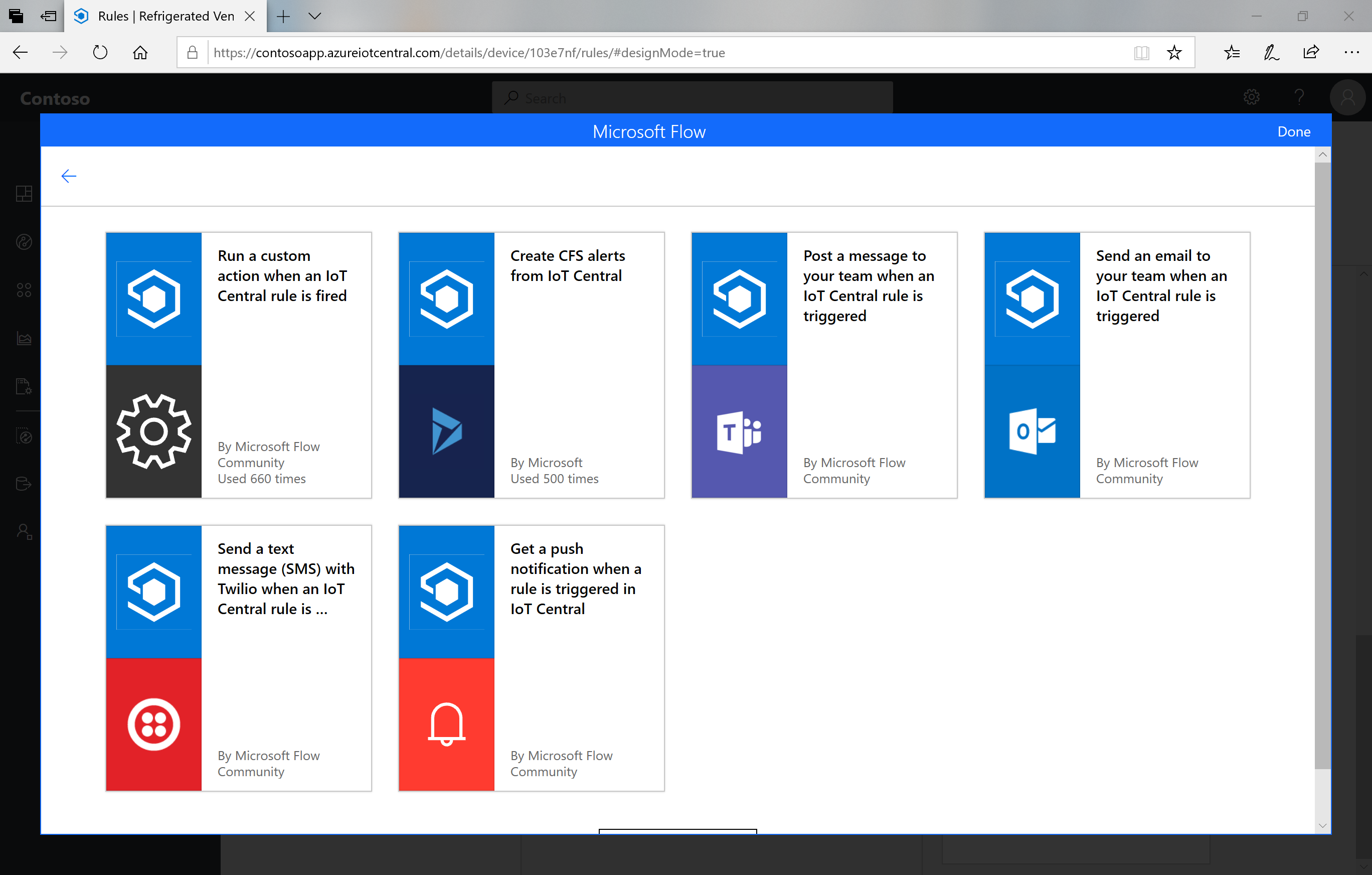 Available Microsoft Flow templates
