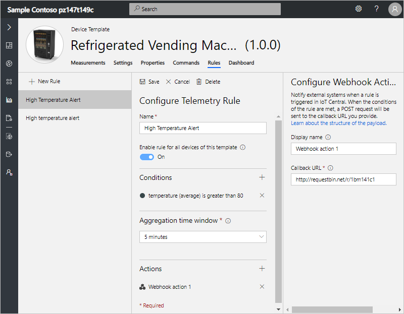 Create webhooks on rules in Azure IoT Central | Microsoft Docs