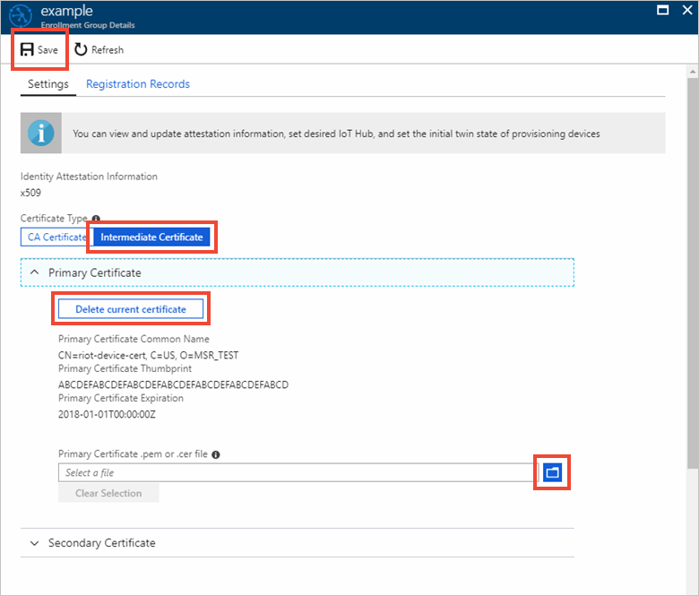 How to roll X 509 certificates in Azure IoT Hub Device Provisioning