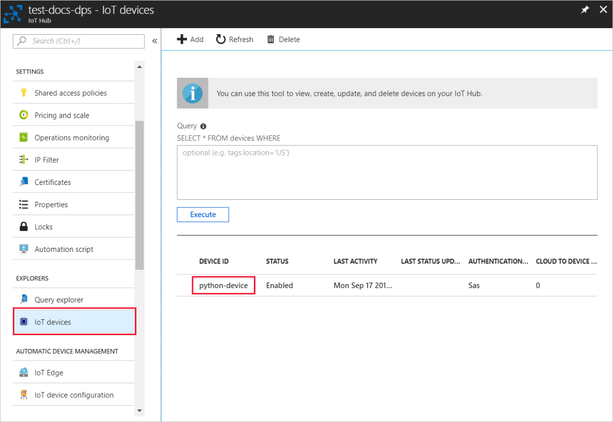 Provision a simulated TPM device to Azure IoT Hub using