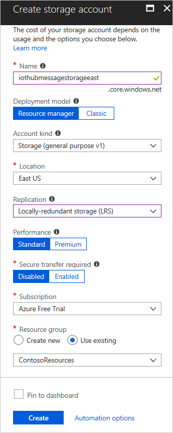Create an storage account in the Azure Portal