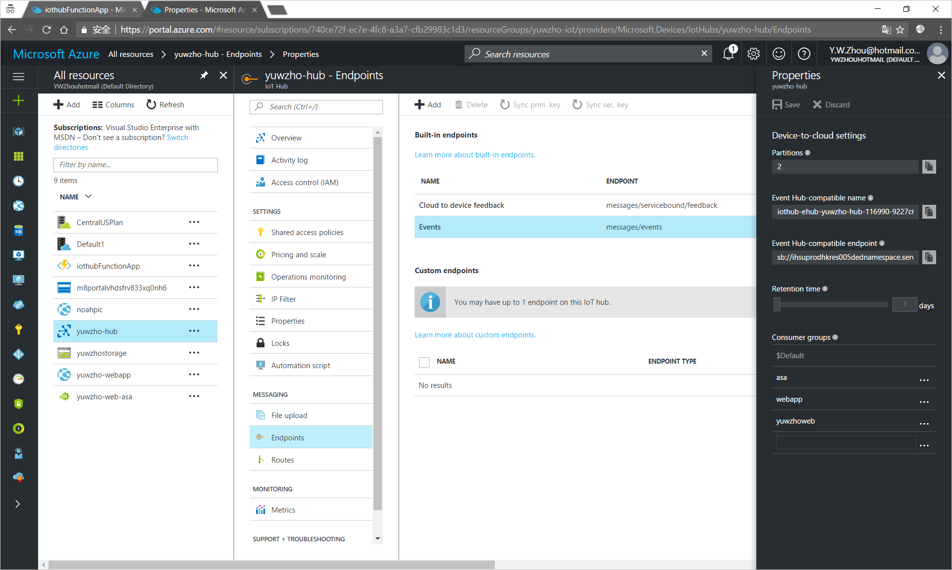 Get the connection string of your IoT hub endpoint in the Azure portal