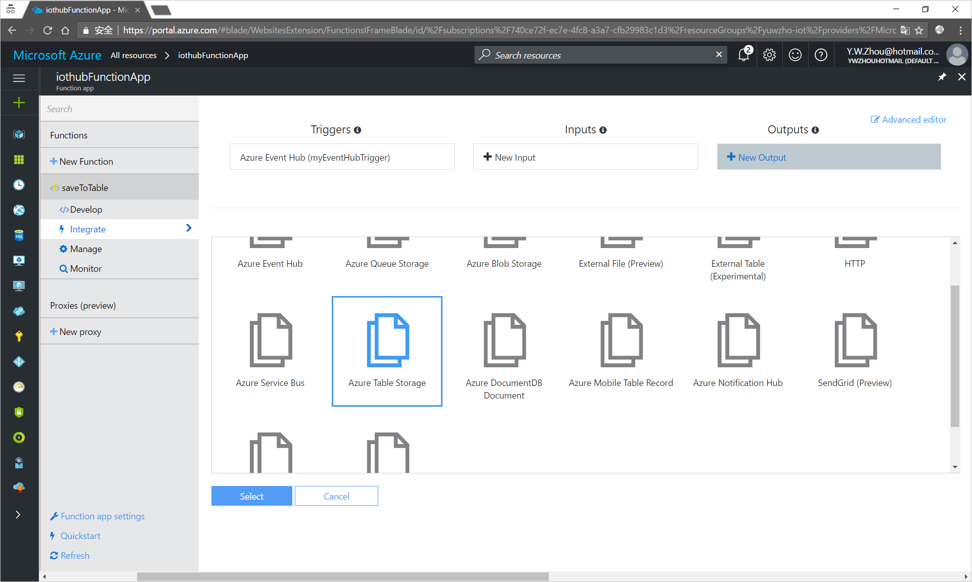 Add a table storage to your Fuction App in the Azure portal