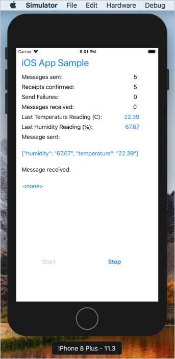 Cloud-to-device messages with Azure IoT Hub (iOS