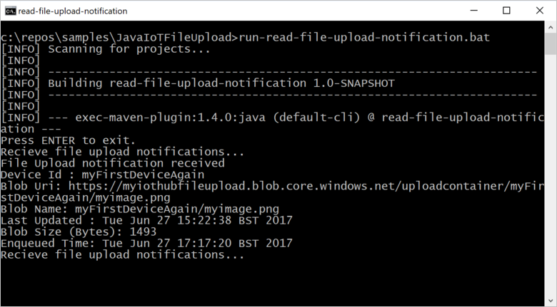 Upload files from devices to Azure IoT Hub with Java | Microsoft Docs
