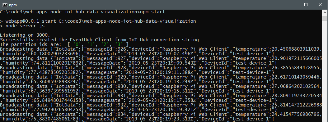 Real-time data visualization of sensor data from your Azure