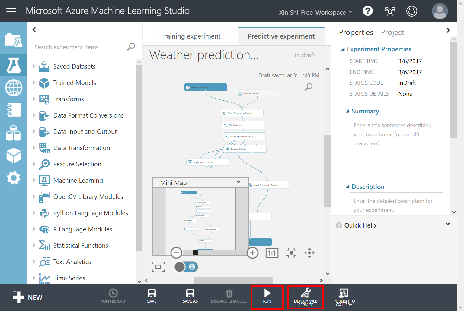 Weather forecast using Azure Machine Learning with data from IoT Hub
