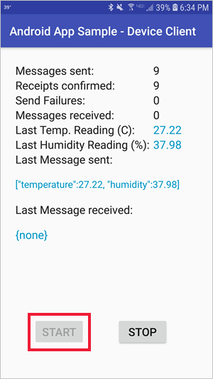 Send telemetry to Azure IoT Hub quickstart (Android