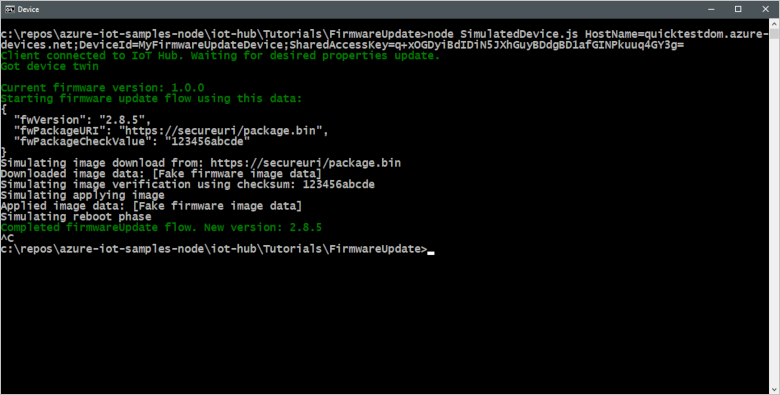 Update device firmware through Azure IoT Hub | Microsoft Docs