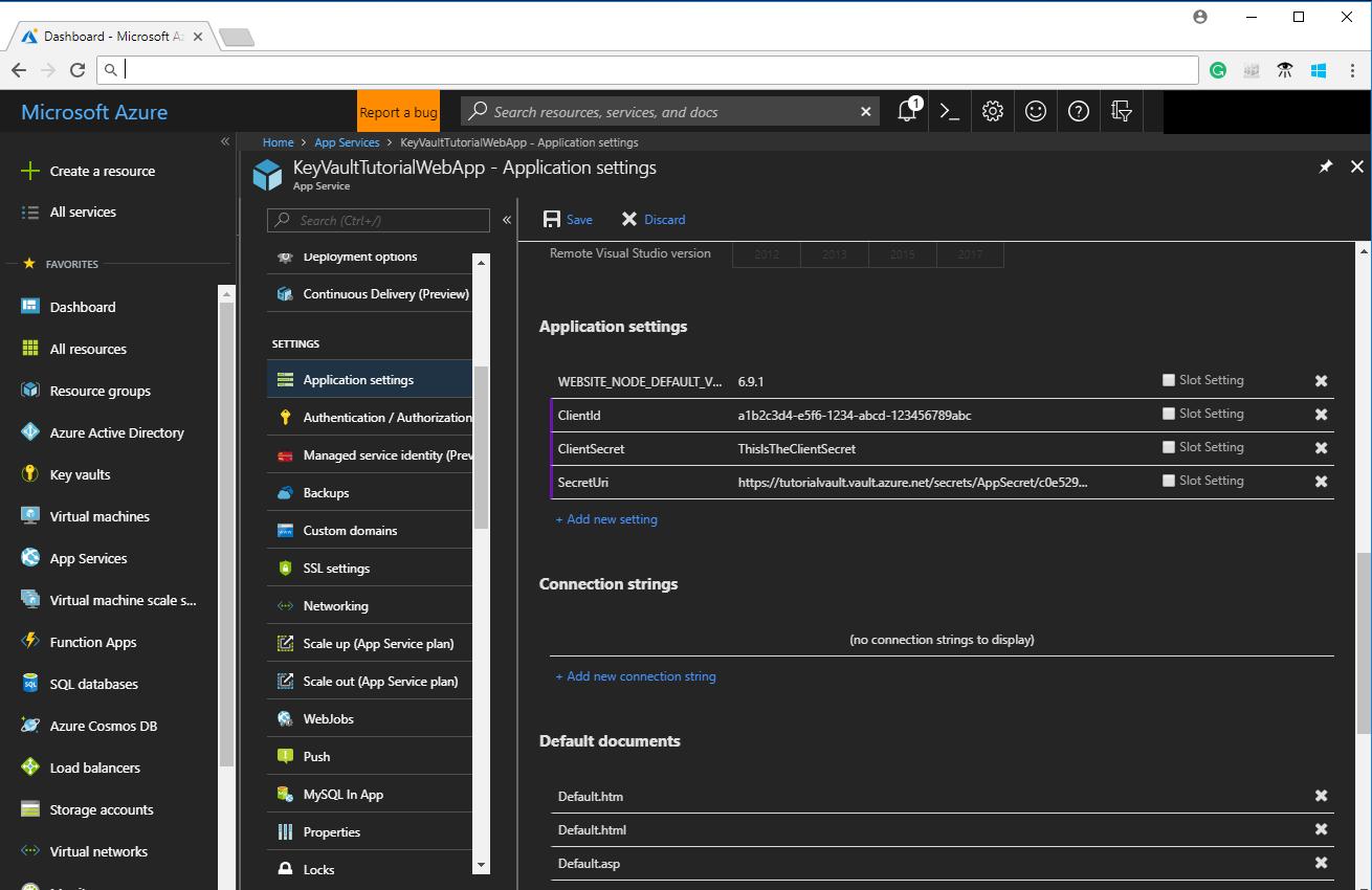 Use Azure Key Vault From A Web Application Tutorial Microsoft Docs