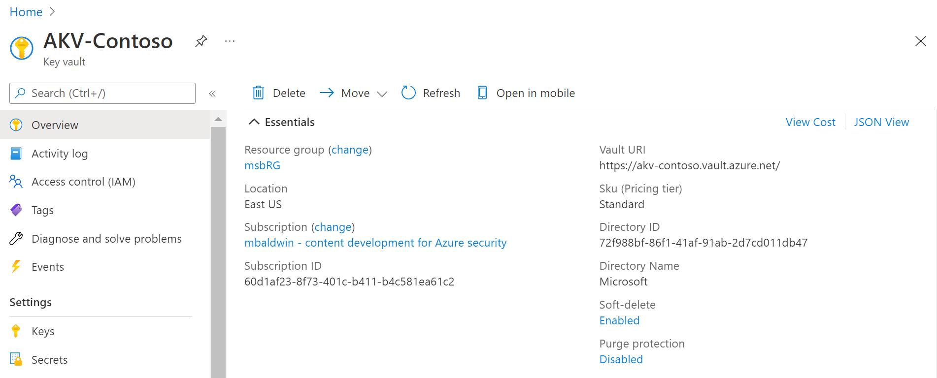 Azure Quickstart - Set and retrieve a secret from Key Vault