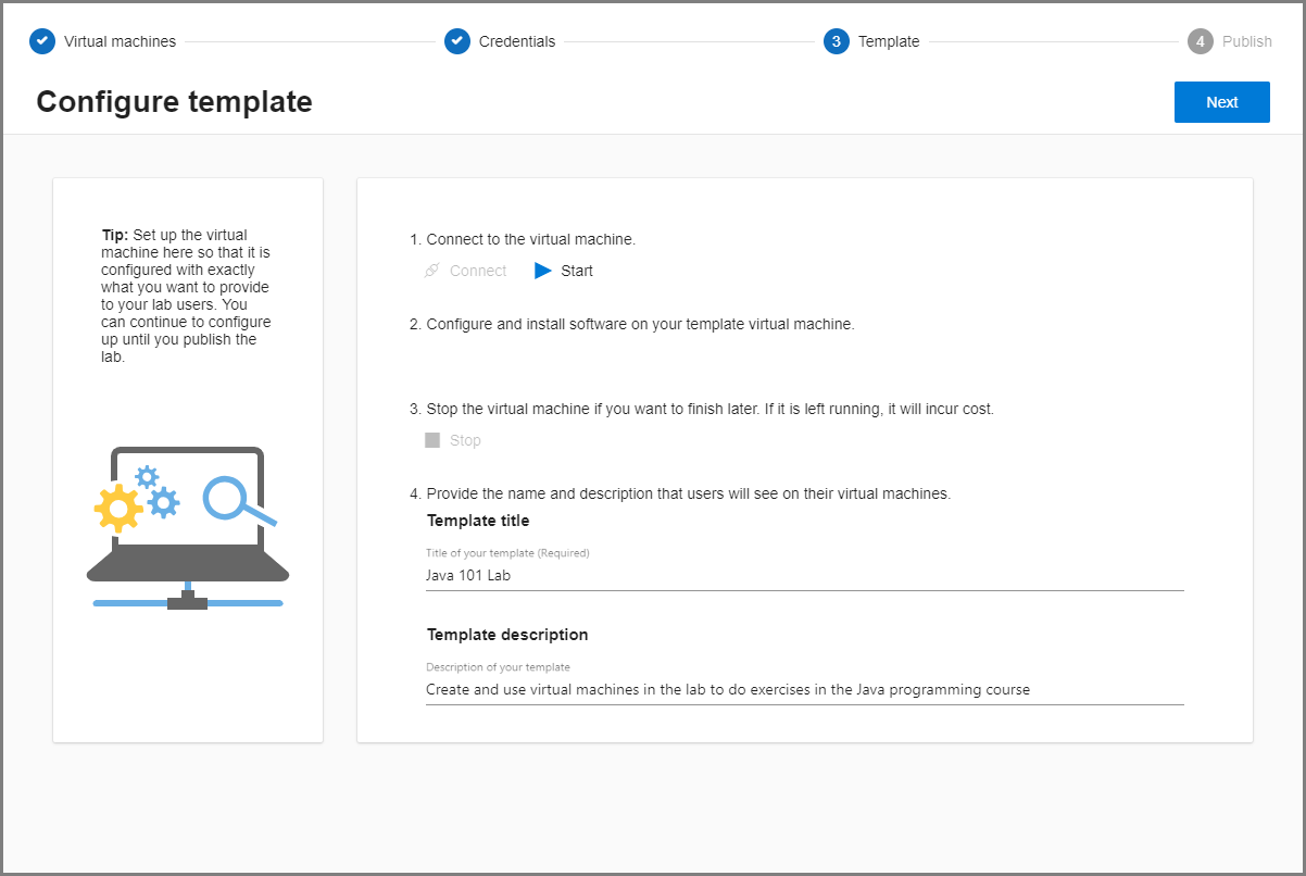 Manage A Template Of A Classroom Lab In Azure Lab Services