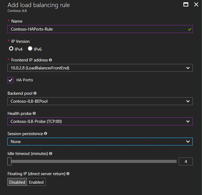 Configure High Availability Ports for Azure Load Balancer