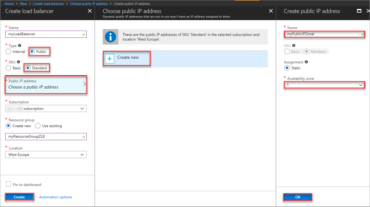 Create a Load Balancer with a zonal frontend - Azure portal