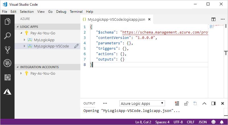 visual studio download logic app