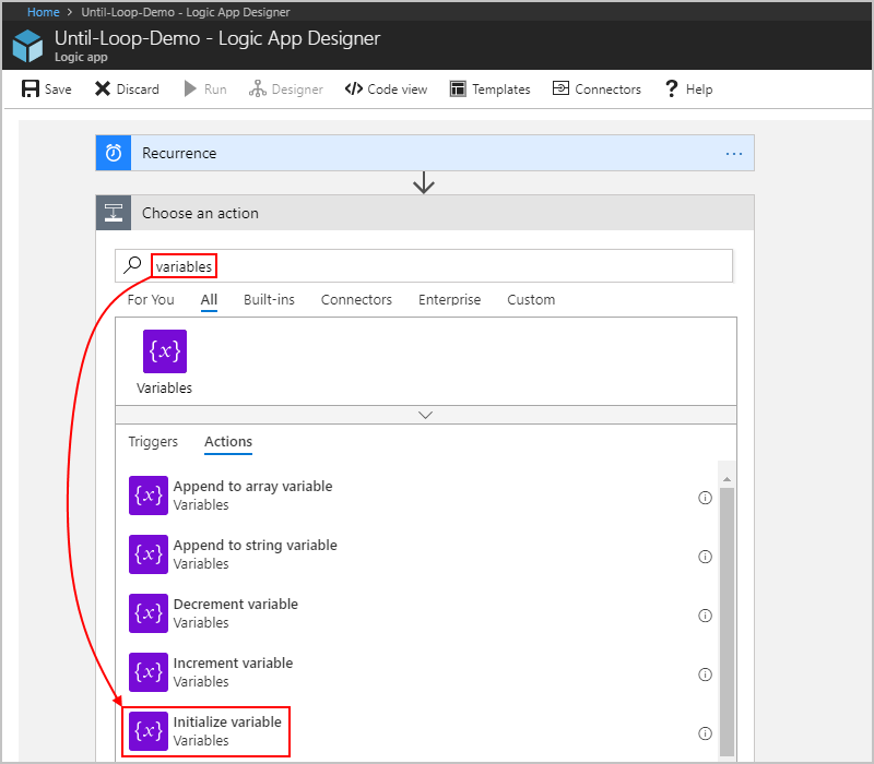 Add loops that repeat actions or process arrays - Azure