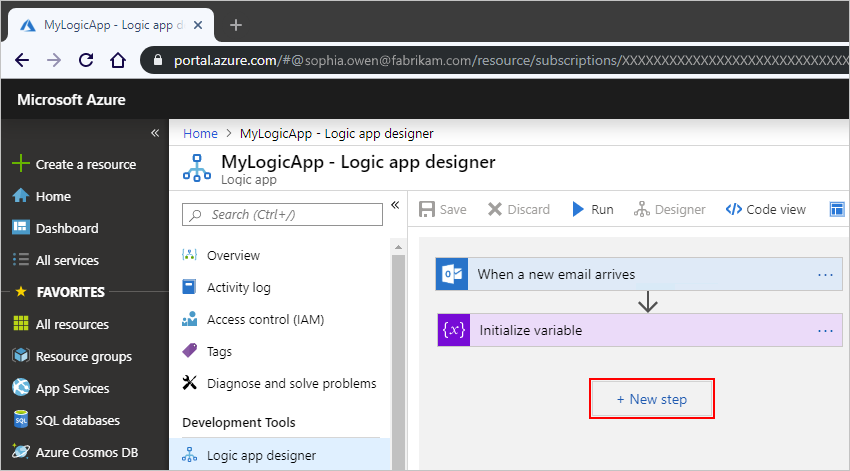 Create variables for saving values - Azure Logic Apps