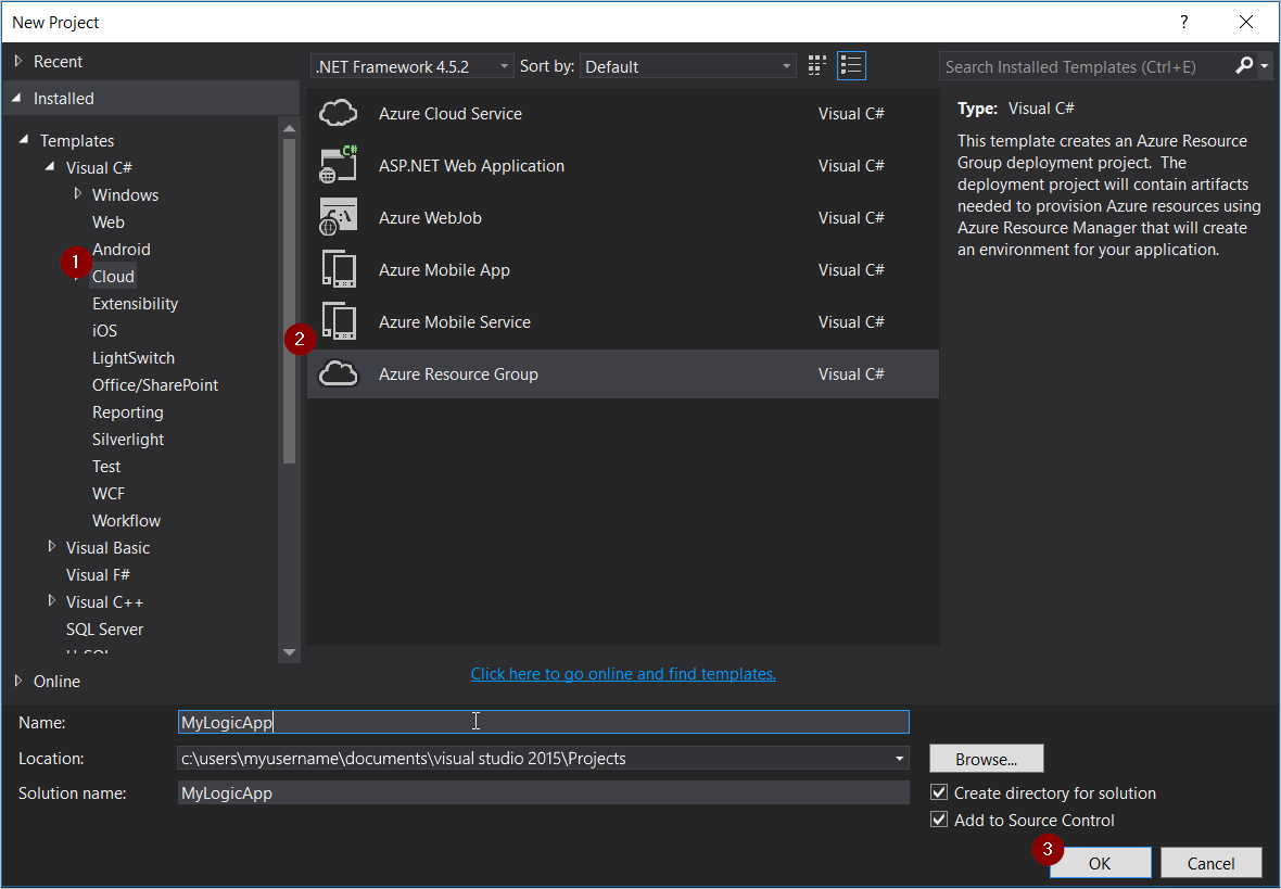 Create build and deploy logic apps in visual studio azure add new project ccuart Gallery
