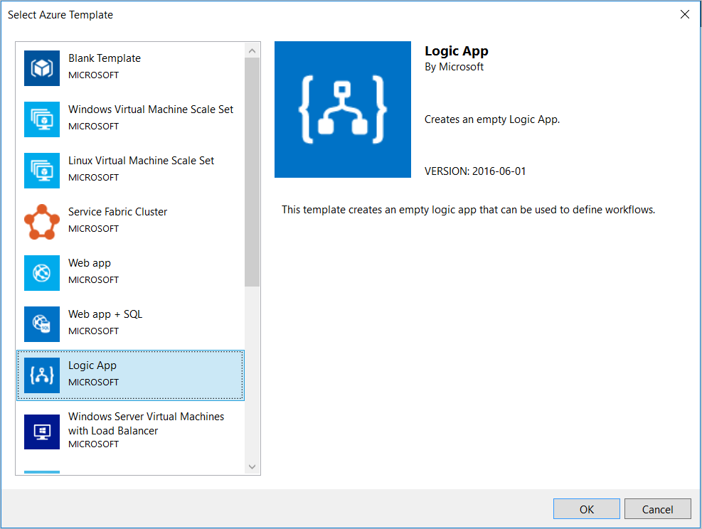Create build and deploy logic apps in visual studio azure select logic app template ccuart Gallery
