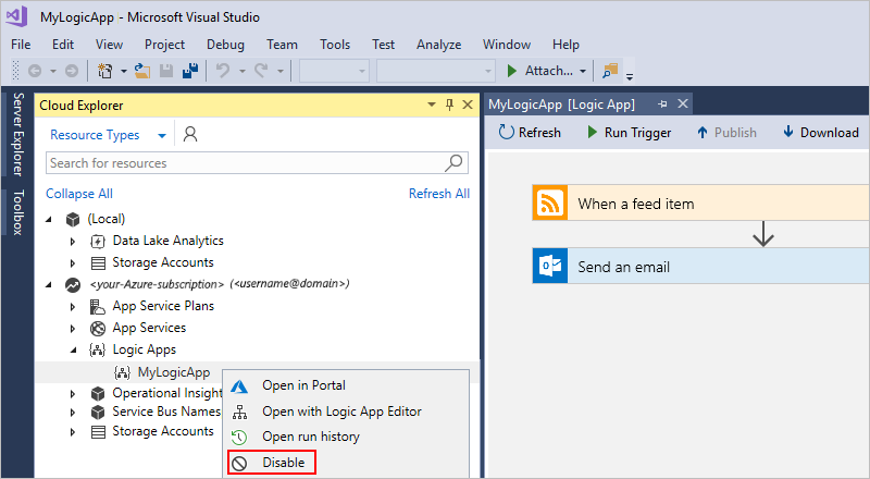 Manage logic apps by using Visual Studio - Azure Logic Apps