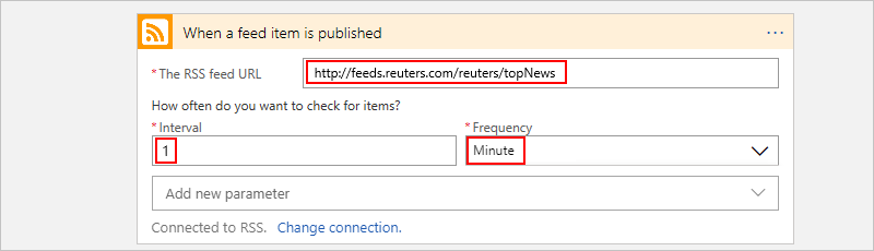 Set up trigger with RSS feed, frequency, and interval