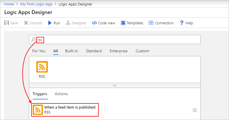 "Select trigger: ""RSS - When a feed item is published"""