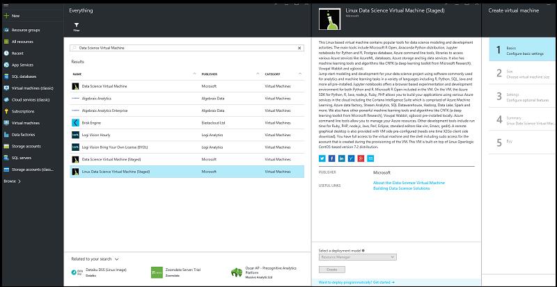 Create a CentOS Linux Data Science Virtual Machine - Azure