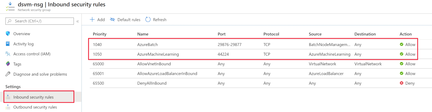 Screenshot of inbound NSG rules for Machine Learning Compute