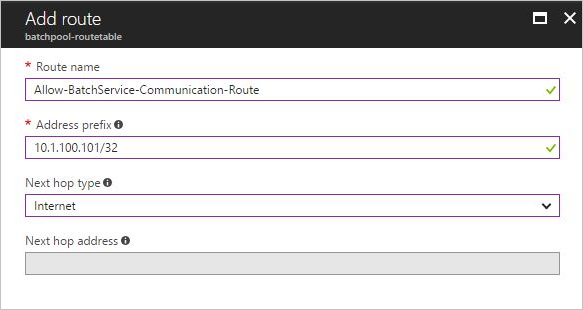 Example user-defined route for an address prefix