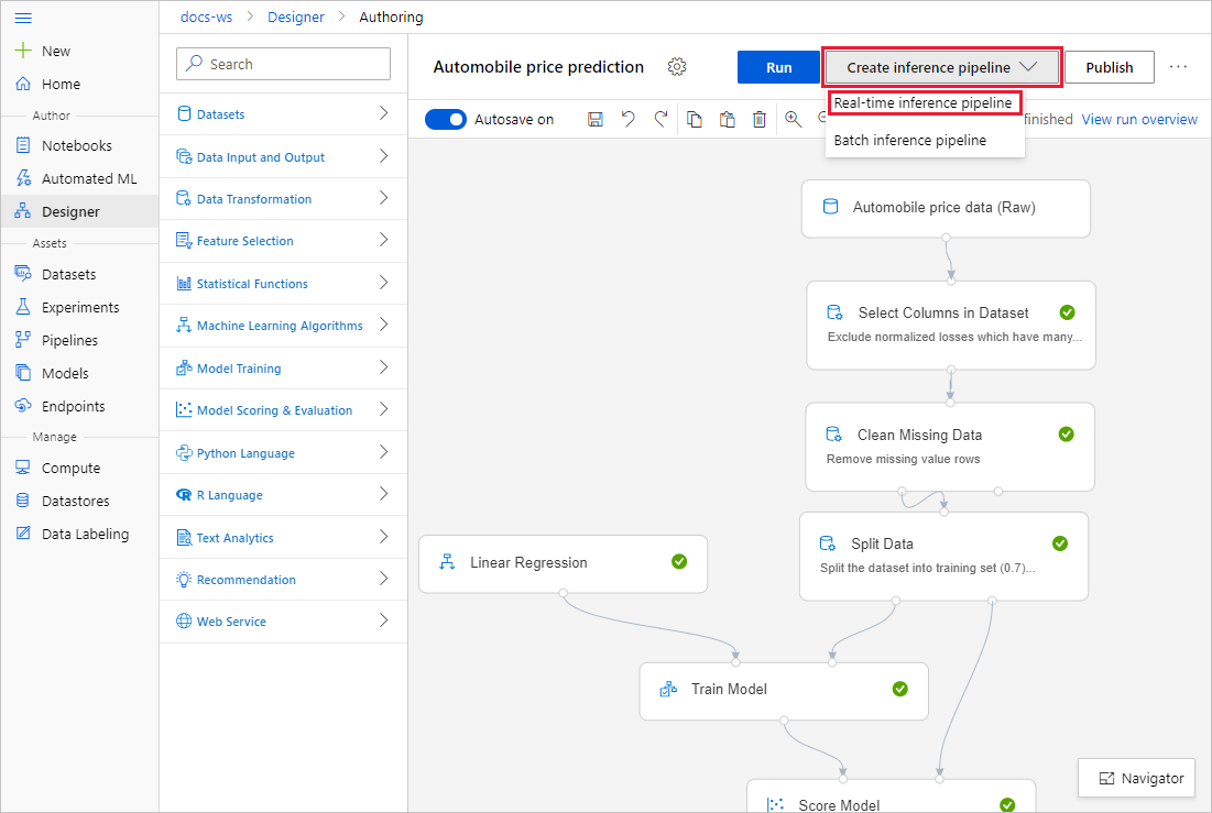 Screenshot showing where to find the create pipeline button